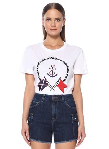 NetWork Kadın 1074560 Bisiklet Yaka Nakışlı Basic T-Shirt Beyaz